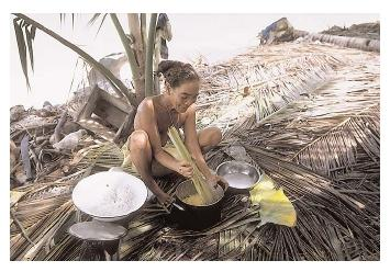 Breadfruit (being prepared here) is one of many starchy fruits traditionally eaten by Pacific Islanders. The diet also includes abundant fresh vegetables, fish, and nuts. [Photograph by Wolfgang Kaehler. Corbis. Reproduced by permission.]