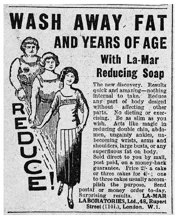 A 1920s Adver For Weight Loss Soap Promises Quick Painless Results And Offers