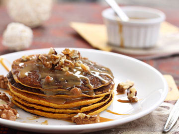 Pumpkin Raisin & Walnut Pancakes