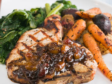 Grilled Pork Chops with Grape and Fig Chutney