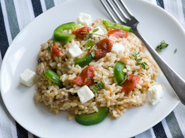 Lemon Rice with Zucchini, Roasted Peppers and Feta Cheese